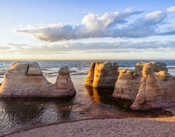 Monoliths of Île Nue de Mingan at sunset, Quebec, Canada